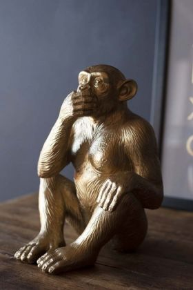 Large Speak No Evil Gold Monkey Ornament
