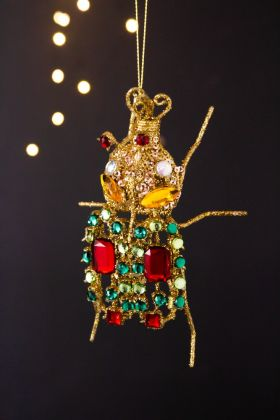 Image of the Gold Rhinestone Decorative Beetle