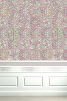 lifestyle Image of Louise Body Patchwork Dusky Pink Tile Wallpaper with white wooden panelling at bottom and white flooring