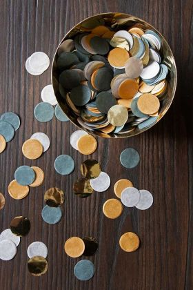 Lifestyle image of the Mustard Gold Party Table Confetti