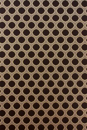 detail image of Nina Campbell Gioconda Flock Wallpaper - Brown/Gold NCW4273-01 - ROLL brown small circles on gold background repeated pattern