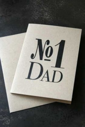 No 1 Dad Greetings Card on dark background lifestyle image