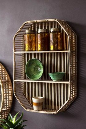 Lifestyle image of the Octagon Bamboo Two-Tier Shelf Unit hanging on dark wall filled with kitchen accessories