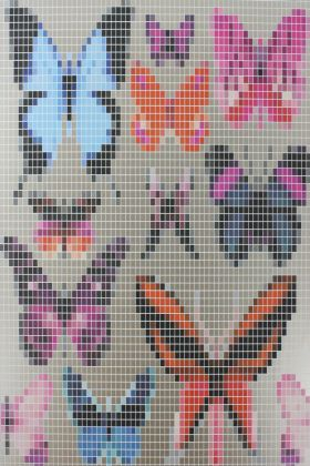 square detail image of pattern of Osborne & Little Butterfly House Wallpaper - Cream W6594-01 - ROLL coloured butterflies on grey background