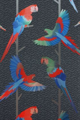 detail image of Matthew Williamson Arini Wallpaper - Grey/Red/Persian Blue W6806-01 - ROLL coloured parrots on branches repeated pattern on grey background