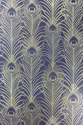 detail image of Matthew Williamson Peacock Wallpaper - Dark Violet/Metallic Gold W6541-03 - ROLL gold and blue peacock feather repeated pattern
