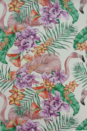 detail image of Matthew Williamson Flamingo Club Wallpaper - Ivory/Fuchsia/Coral W6800-03 - ROLL pink flamingos and colourful tropical plants pattern on ivory background