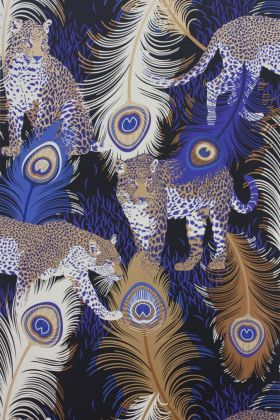 detail image of Matthew Williamson Leopardo Wallpaper - Black/Electric Blue/Metallic Bronze W6805-01 - ROLL gold, blue and white peacock feather repeated pattern on black background
