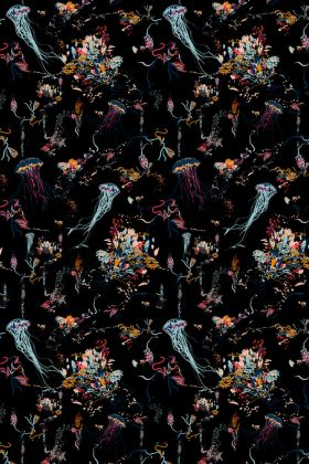 detail image of 17 Patterns Jellyfish Wallpaper - Black - ROLL coloured jellyfish repeated pattern on black background