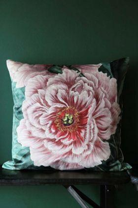Pink Peony Rose Velvet Cushion