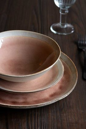 Image of the Rose Pink Pottery Tableware Dinner Service Collection dinner plate, side plate and bowl stacked on top of each other