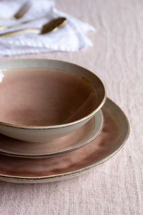 Image of the Rose Pink Pottery Side Plate, Bowl & Dinner Plate Set stacked on top of each other