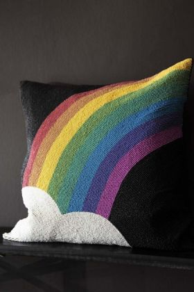 Pride Over The Rainbow Glamorous Beaded Cushion