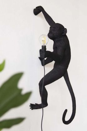 Right-Hand Hanging Monkey Wall Lamp - Black - Suitable For Outdoors