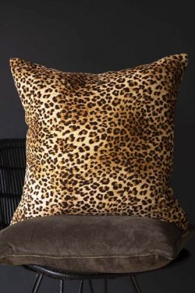 Rockett St George Leopard Love Leopard Print Velvet Cushion