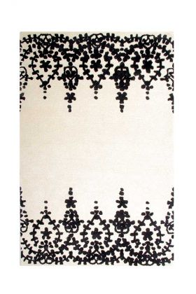 Image of the Floral Lace Onyx Black Rug on a white background