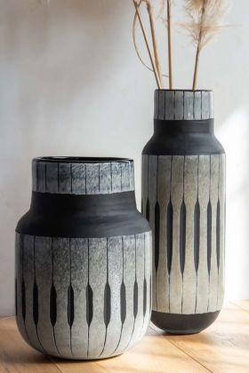Close-up lifestyle image of both the African Tribal Inspired Vases
