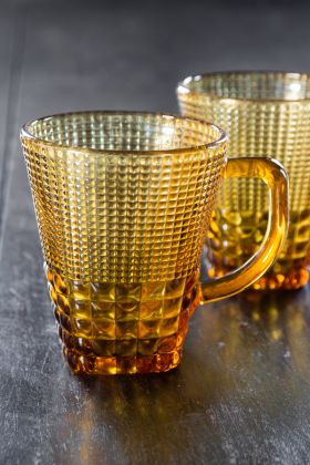 Image of the Amber Bobble Glass Mug