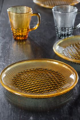 Image of the Amber Bobble Glass Plate