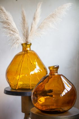 Image of both the small & large Amber Recycled Glass Blown Bubble Vases