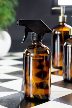Amber Tinted Glass Fine Mist Spray Bottle