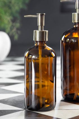 Image of the Amber Tinted Glass Soap Dispenser Bottle - Small