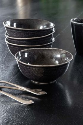Lifestyle image of the Antique Black Dunes Stoneware Bowl