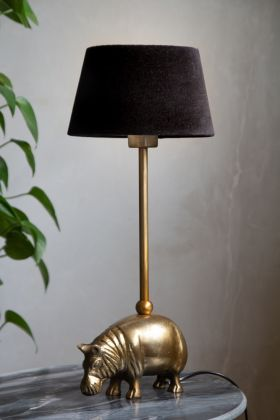 Image of the Antique Brass Hippo Table Lamp with a Rockett St George Lamp Shade