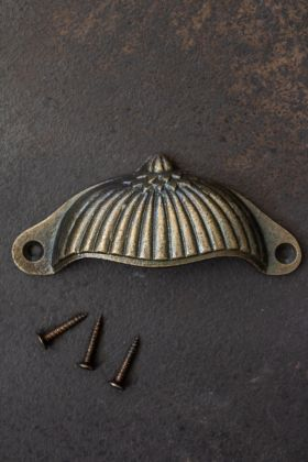 Antique Brass Scalloped Cup Drawer Handle