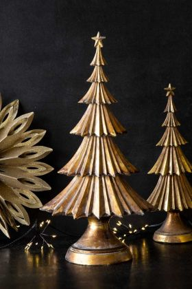 Image of the Large & Small Antique Gold Christmas Tree Table Decoration