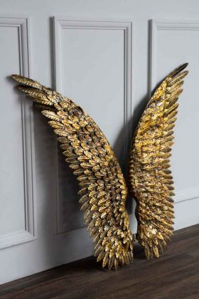 Image of the Antique Gold Metal Angel Wings