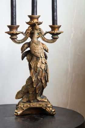 Image of the front of the Antique Gold Peacock Trio Candlestick Holder