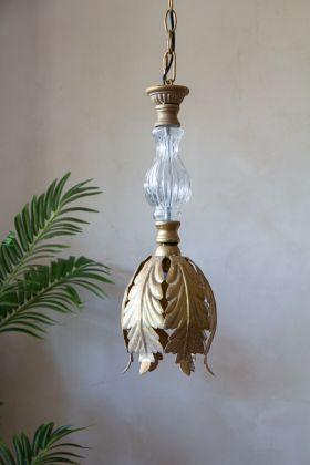 Image of the Antique-Style Glass & Brass Leaf Ceiling Pendant Light