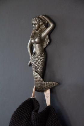 Lifestyle image of the Antique Style Iron Mermaid Coat Hook