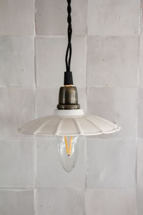 Image of the Antique White Canopy Shade Ceiling Pendant Light