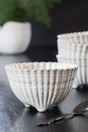 Antique White Ceramic Footed Bowl
