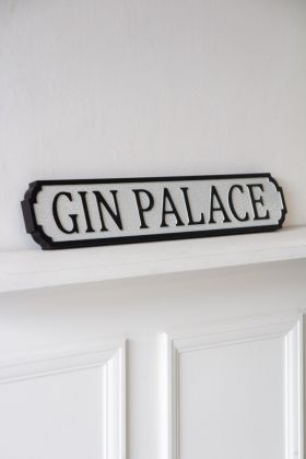Image of the Antiqued Wooden Gin Palace Road Sign-Style Wall Art