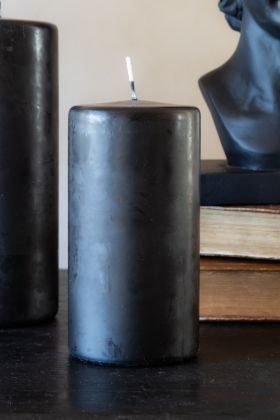 Image of the Beautiful Black Short Pillar Candle lit