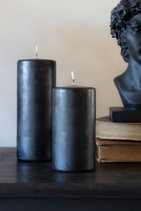 Image of both the Tall & Short Beautiful Black Pillar Candles