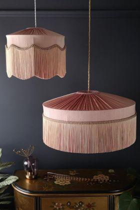 Lifestyle image of the Bespoke Blush Pink Silk Tiffany Lamp Shade in both straight & wavy fringe