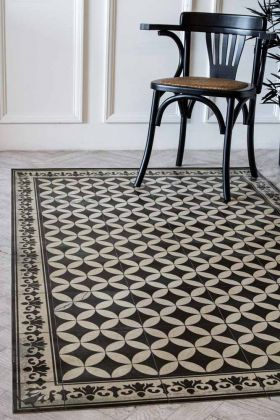 Lifestyle image of the Sofi Antique Vintage Tile Effect Beija Vinyl Floor Rug