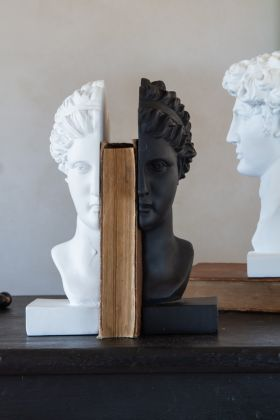Lifestyle image of the Black & White Female Bust Bookends