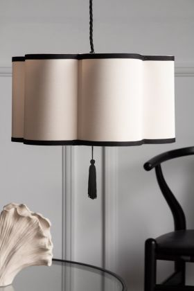 Lifestyle image of the Black & Cream Lantern Curved Ceiling Lamp Shade