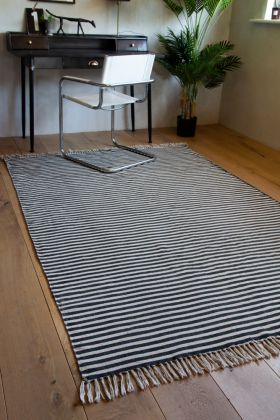 Black & White Striped Rug With Fringe