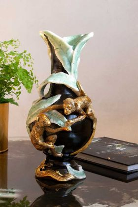 Lifestyle image of the Vintage Style Monkey at Play Vase