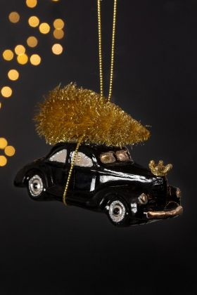 Image of the Black Car With Christmas Tree Decoration