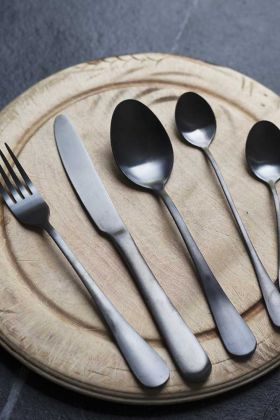 Image of the 5-Piece Modern Black Stainless Steel Cutlery Set