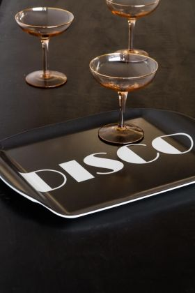 Lifestyle image of the Black Disco Tray With Handles