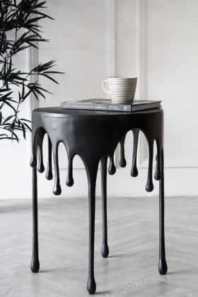Matt Black Drip Side Table
