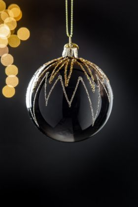 Image of the Black With Glitter Fireworks Christmas Tree Decoration